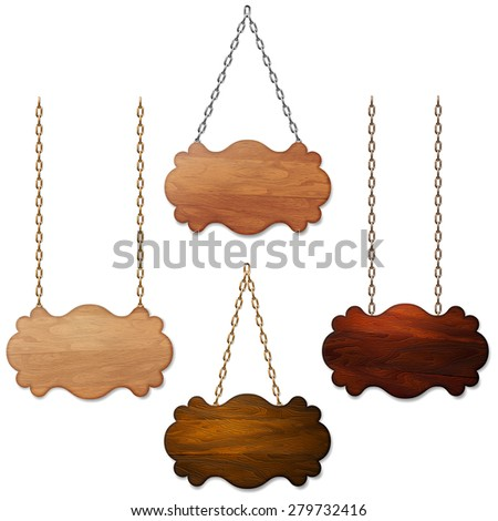 Set of wooden sign, banner, background hanging on metal chains - stock vector