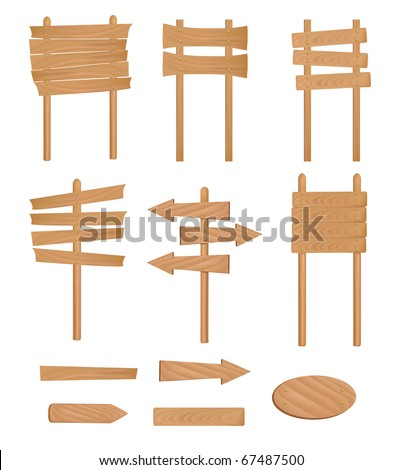 Set of wooden sign. Vector illustration. - stock vector