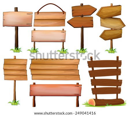 Set of wooden signboards on a white background