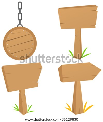 set of Wooden signs - stock vector