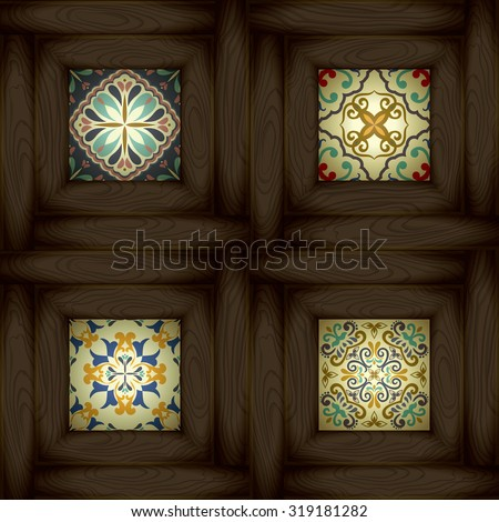 Set of wooden vs ceramic tiles - patterns, blue-orange style - stock vector