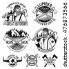 Set of woodworkers, lumberjack, sawmill service monochrome vector labels, emblems and logos isolated on white background.Lumberjack mascot holding the axe.