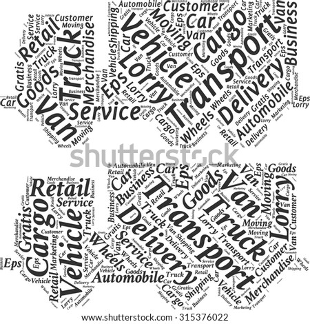 Set of word clouds in the form of an abstract truck