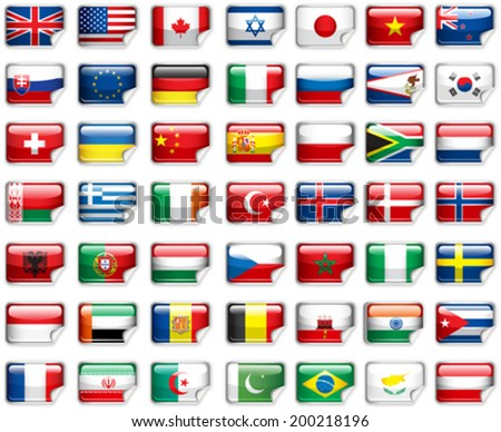 Set of world flags.  - stock vector