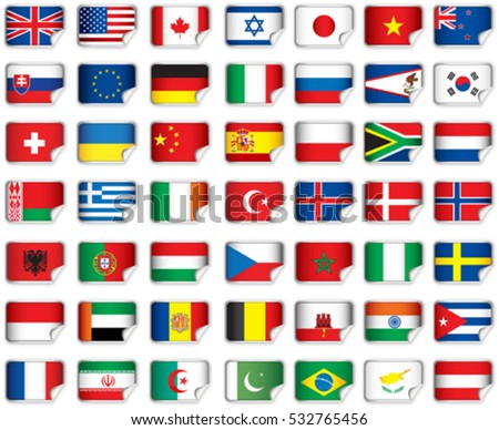 Set of world flags. Eps 10 file with transparencies and drop shadow(banner).