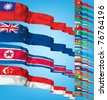 Set of world flags. High detailed 3d vector concept - stock photo