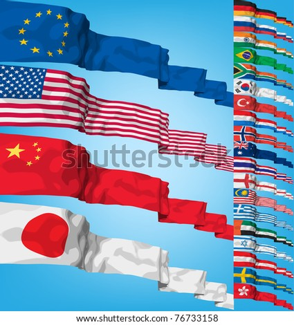 Set of world flags. High detailed 3d vector concept