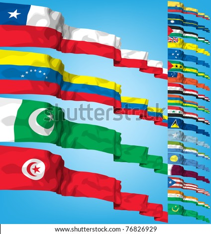 Set of world flags. High detailed 3d vector concept - stock vector