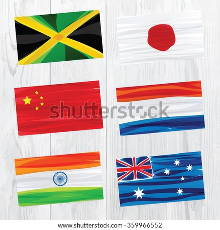 Set of world flags on white wood texture