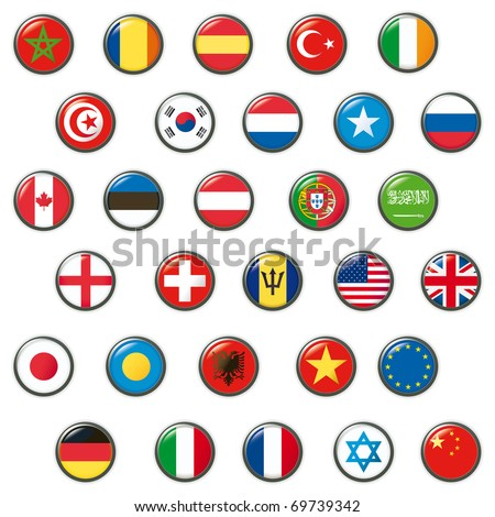 Set of world flags. Vector button - stock vector
