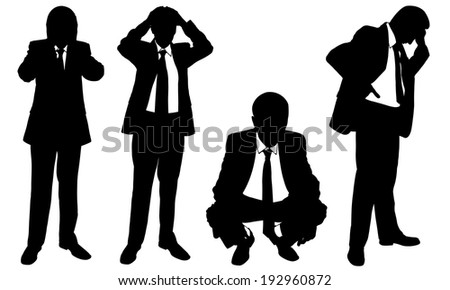 set of worried business men - stock vector