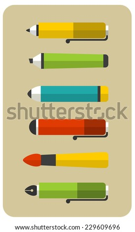 Set of writing utensils. Vector illustration with flat icons. - stock vector