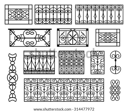 set of wrought iron modules suitable to create balconies or repetitive decorations. Vintage decorations reminding the belle epoque age. Isolated black and white.