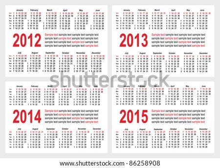 Set of 2012 2013 1214 1215 year Calendar grid pocket vector - stock vector