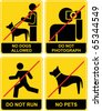 Set of yellow and black signs. Forbidden, prohibitory. No dogs. Do not photograph. No pets allowed. Don't run. No photography. - stock vector