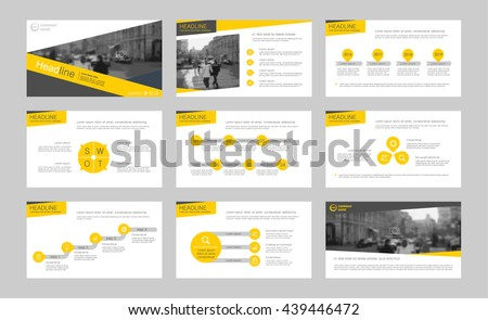 Set of yellow infographic elements for presentation templates. Leaflet, Annual report, book cover design. Brochure, layout, Flyer template design. - stock vector