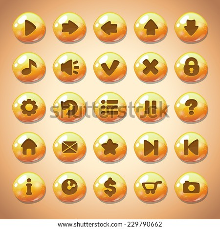 Set of yellow round buttons,menu elements for web or game design - stock vector
