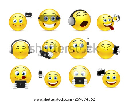 Set of yellow smiles with different gadgets - stock vector
