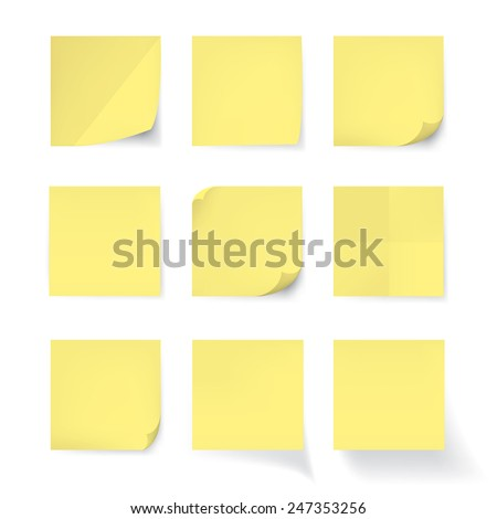 Set of Yellow stick note isolated on white background, vector - stock vector