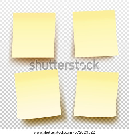 Set Yellow Sticky Note Isolated On Stock Vector   Shutterstock