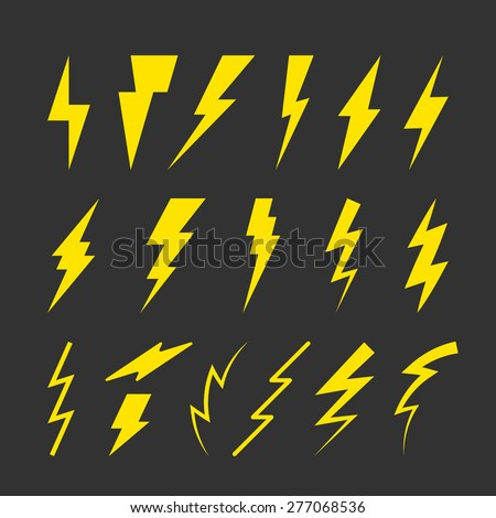 Set of Yellow Thunderbolt Symbols. Vector Danger Signs. Electrical Power Silhouettes Icons. Zig Zag Logo Elements. - stock vector