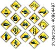 Set of 17 yellow traffic and transportation icons (vector); a JPG version is also available - stock vector
