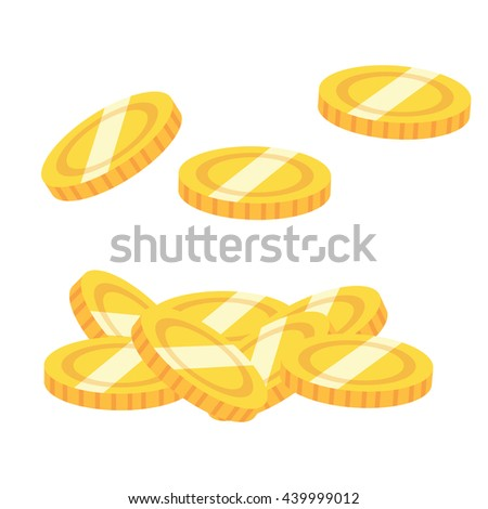 Set of yellow vector shiny coins in cartoon style. Isolated on white background - stock vector