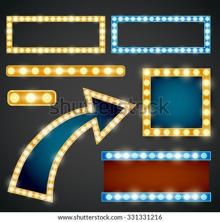 Set of yellow, violet and blue arrows with bulb lamps. Vector illustration - stock vector