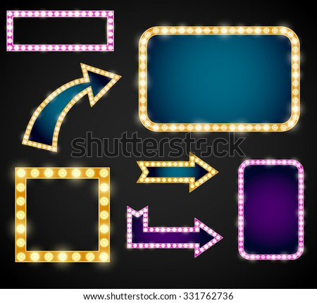Set of yellow, violet and blue arrows with bulb lamps. Vector vintage neon sign retro billboard or light banner  - stock vector
