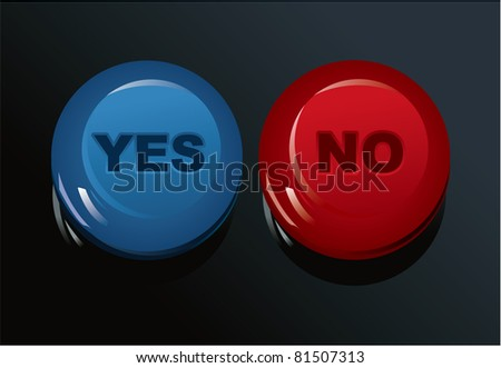 set of Yes/No buttons - stock vector