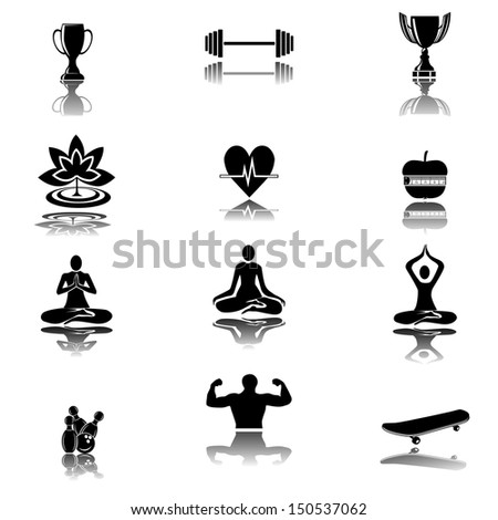 Set of yoga and fitness. Basic - Health and Fitness icons - stock vector