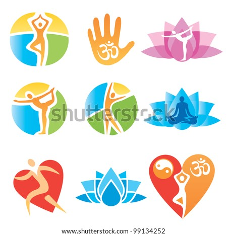 Set of yoga and fitness, colorful icons. Vector illustration.