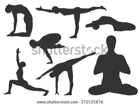 Set of yoga asanas. Vector illustration. Yoga pose vector - stock vector