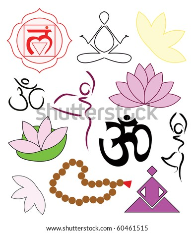 Set of yoga icons - vector illustration