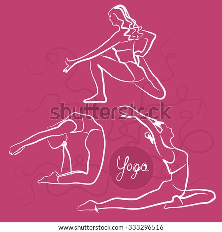 Set Of Yoga Poses. Bright Pink Background