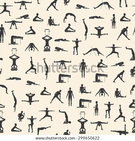 Set of yoga poses in vector - stock vector