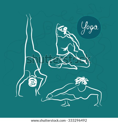 Set Of Yoga Poses. Motton Blue Background