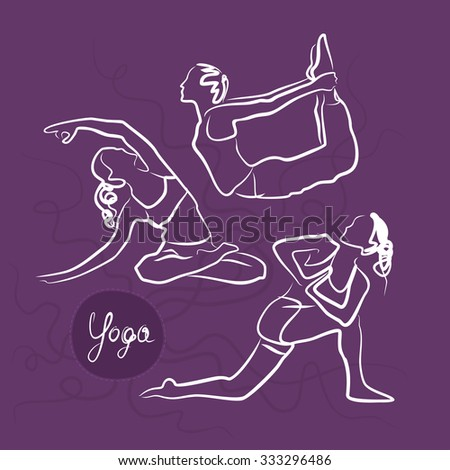 Set Of Yoga Poses. Purple Background - stock vector