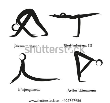 yoga infographics surya namaskar sequence salutation stock