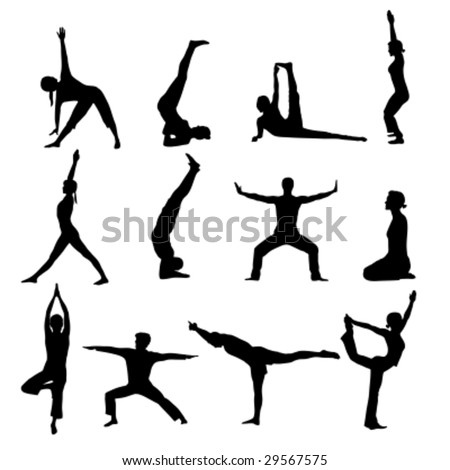 set of yoga practices - stock vector