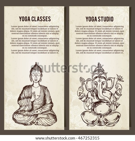 Set Of Yoga Symbols Horizontal BannersIndian Hand Drawn Hamsa With Sitting Buddha And Lord