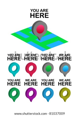 set of you /we are here location icons - stock vector