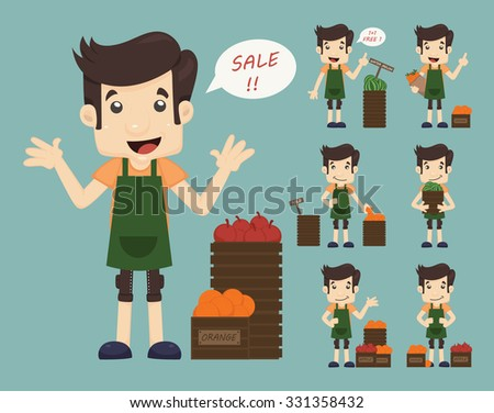 Set of youg merchant , sale man at market shopping store , eps10 vector format - stock vector