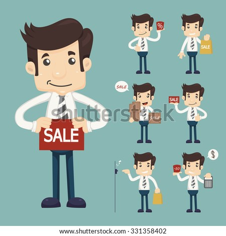 Set of youg sale man at market shopping store , eps10 vector format - stock vector