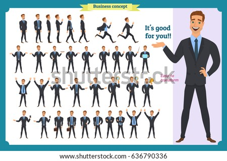 Set of young male businessman presenting in various action. People character. Standing, Man body template for design, animation work.Face,body elements.Isolated on white. Flat style.business.In suit