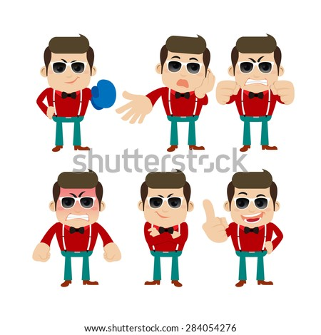 Set of young man characters in different poses - stock vector