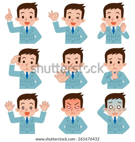 Set of young men work clothes - stock vector