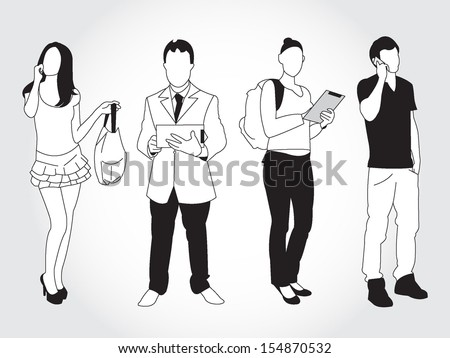 set of young people using smart phone and devices - stock vector