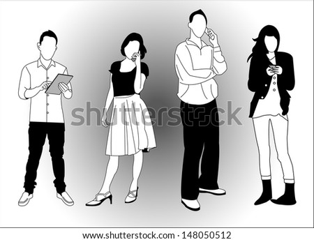set of young people using smart phones and devices  - stock vector