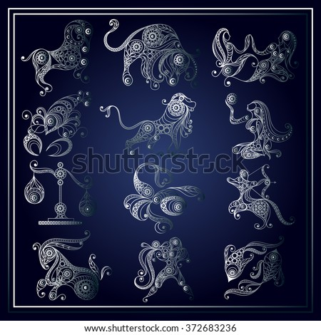 Set of zodiac icons (astrology, astronomy). Horoscope signs as cartoon characters. Vector illustration. - stock vector